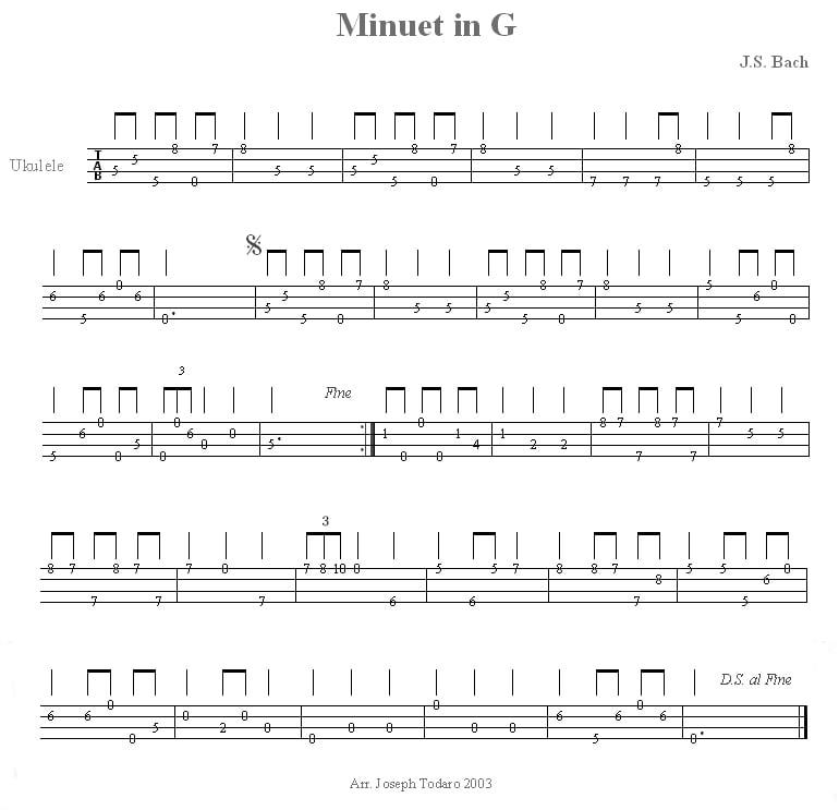 u0026quot;Minuet In Gu0026quot; by Johann Sebastian Bach Ukulele Tabs on UkuTabs