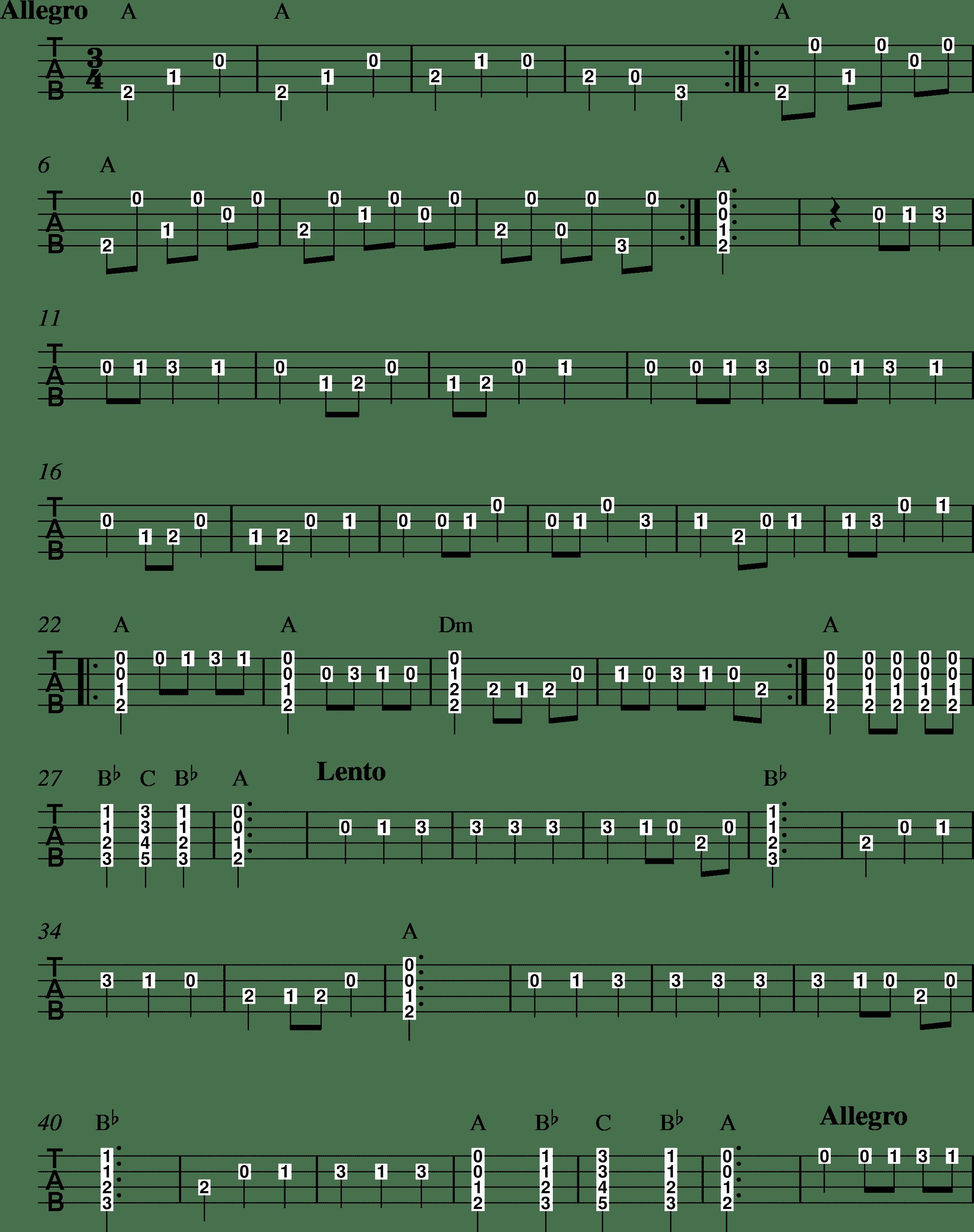 Malaguena tablature